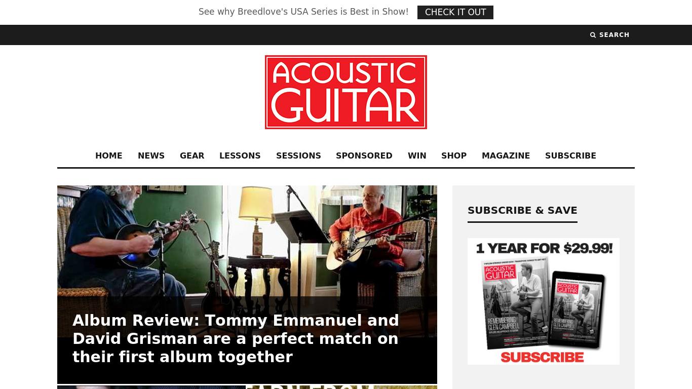 acousticguitar.com Screenshotx