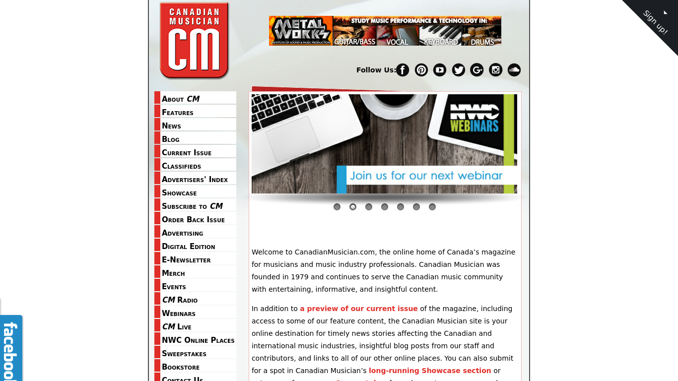 canadianmusician.com Screenshotx