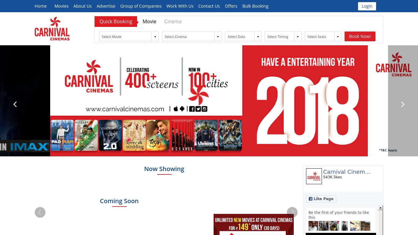 carnivalcinemas.com Screenshotx