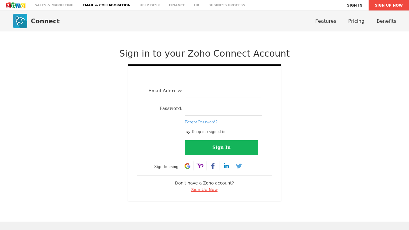 zoho connect pricing