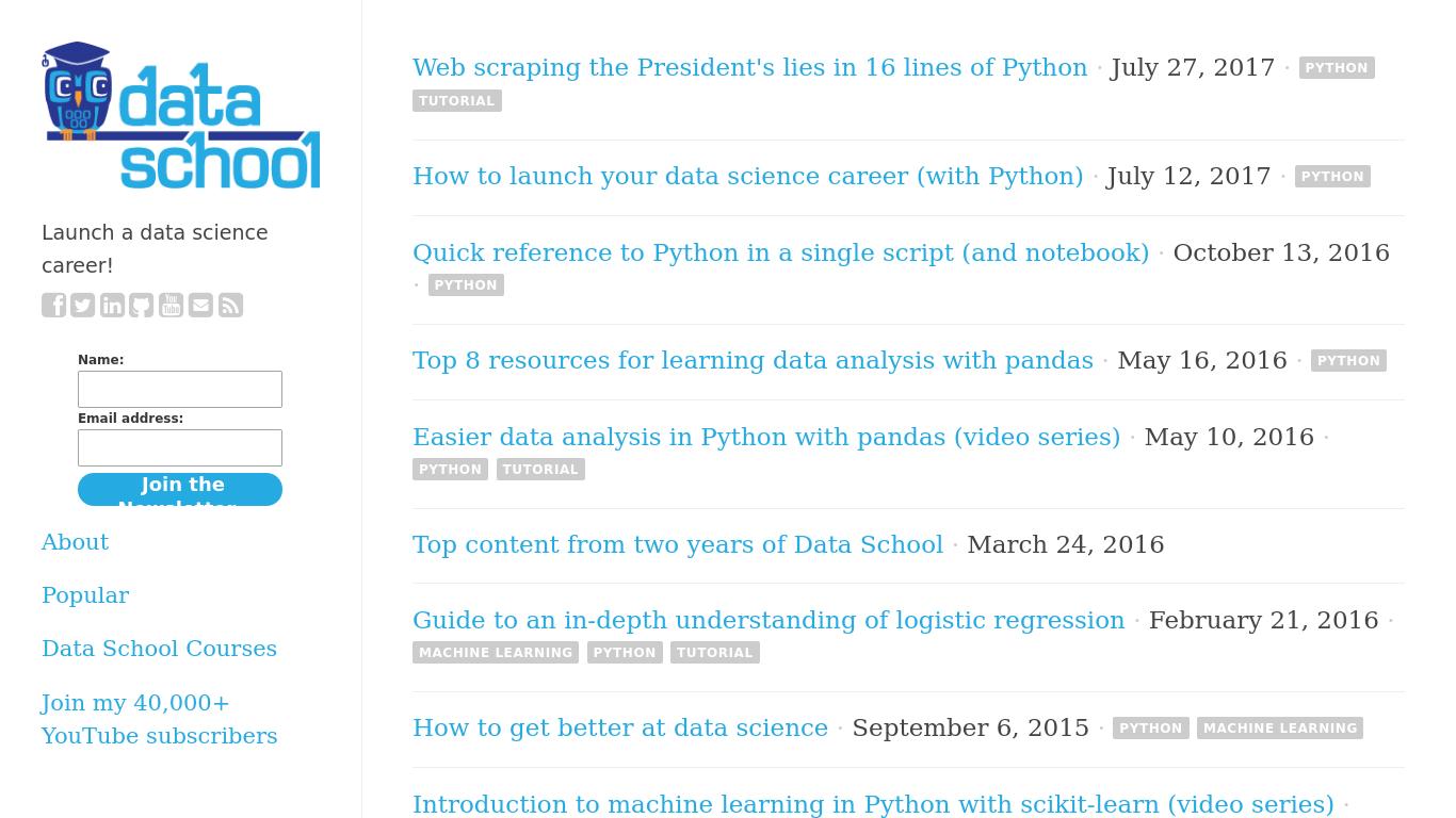 dataschool.io Screenshotx