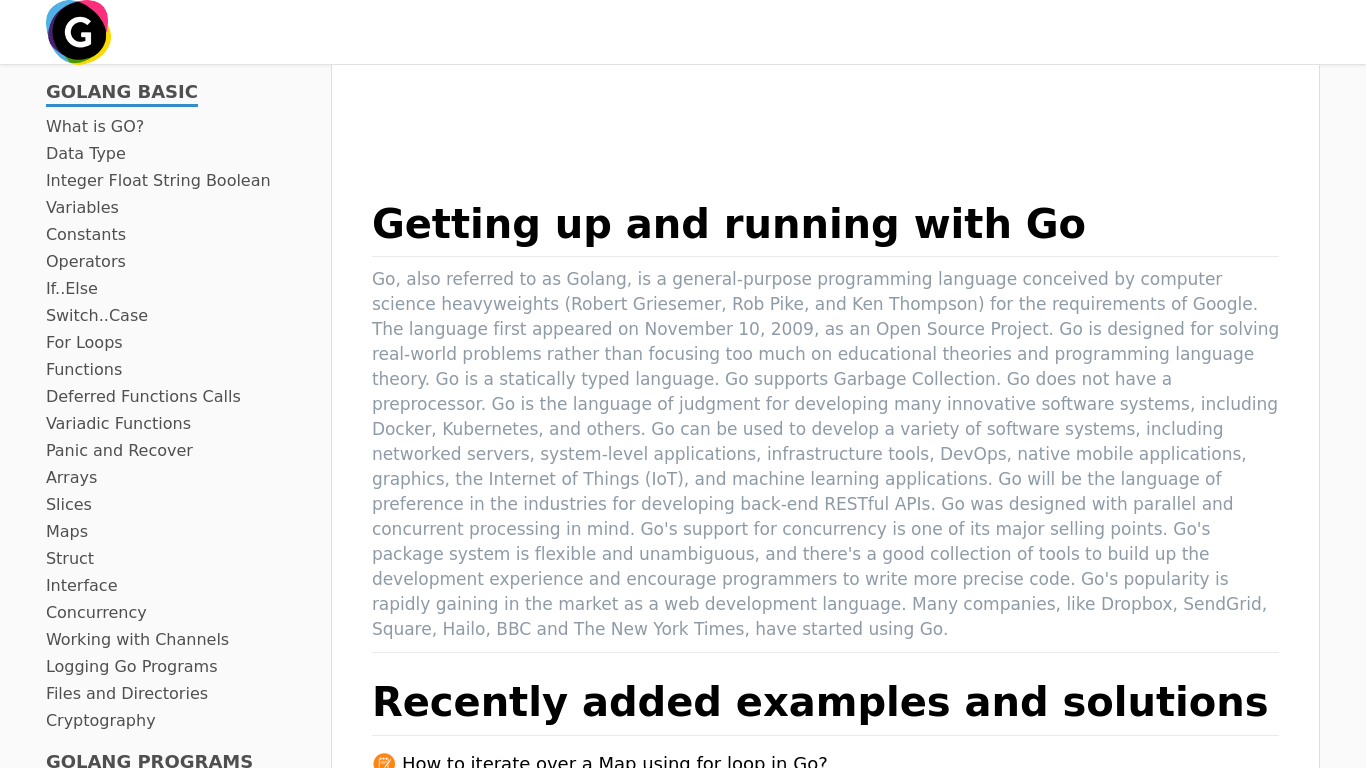 Golang Tutorial, Blog, Articles and Examples