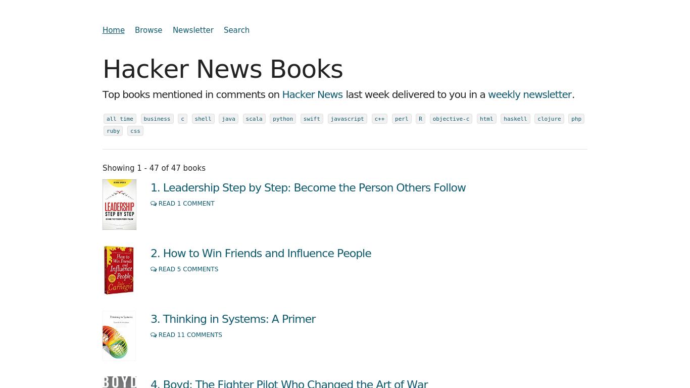 hackernewsbooks.com Screenshotx