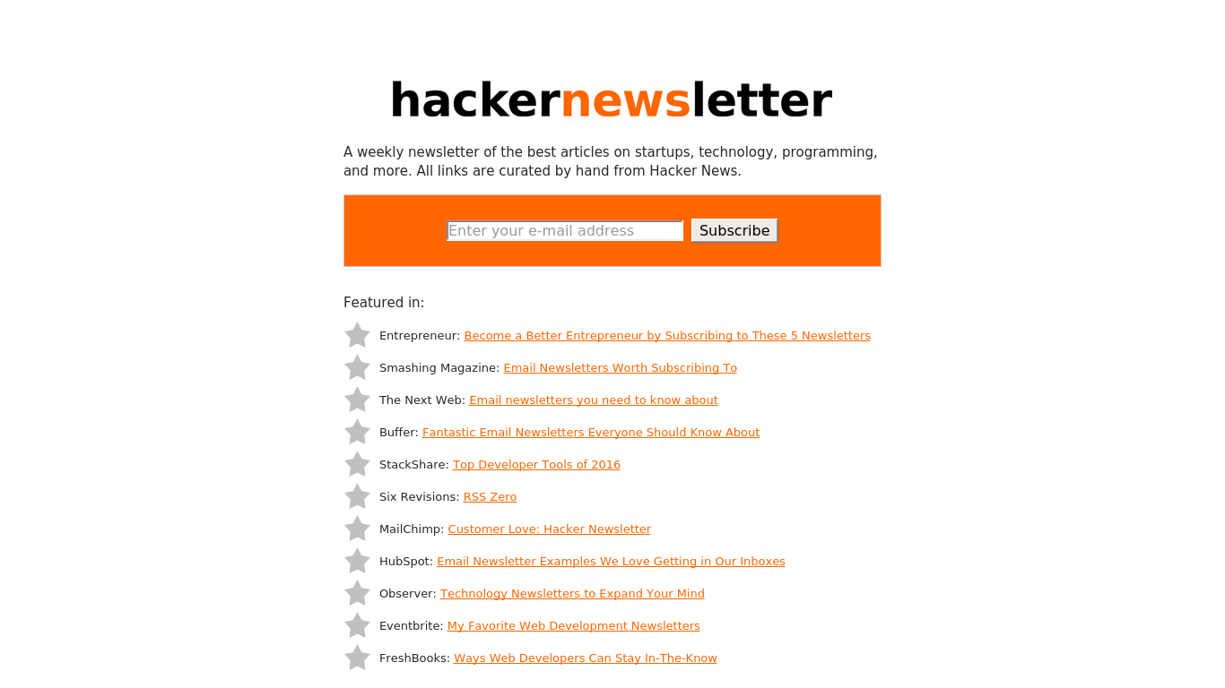 hackernewsletter.com Screenshotx