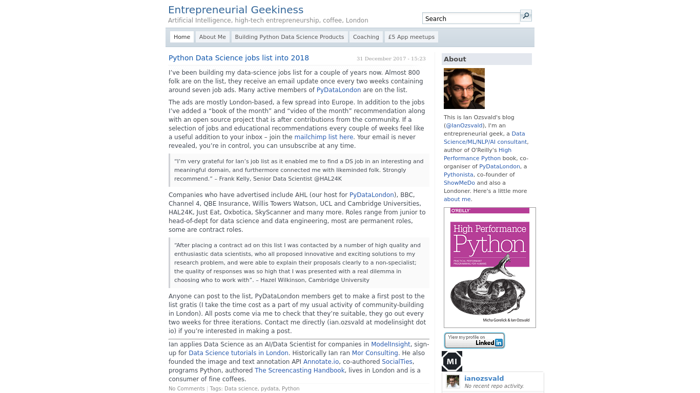 ianozsvald.com Screenshotx