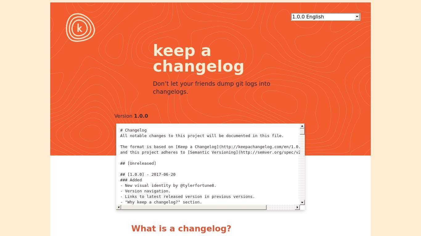 keepachangelog.com Screenshotx