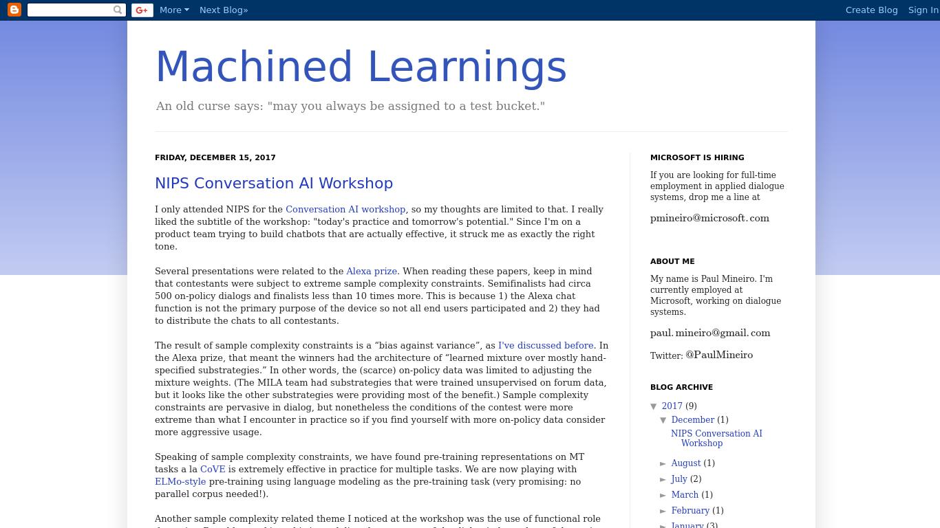 machinedlearnings.com Screenshotx
