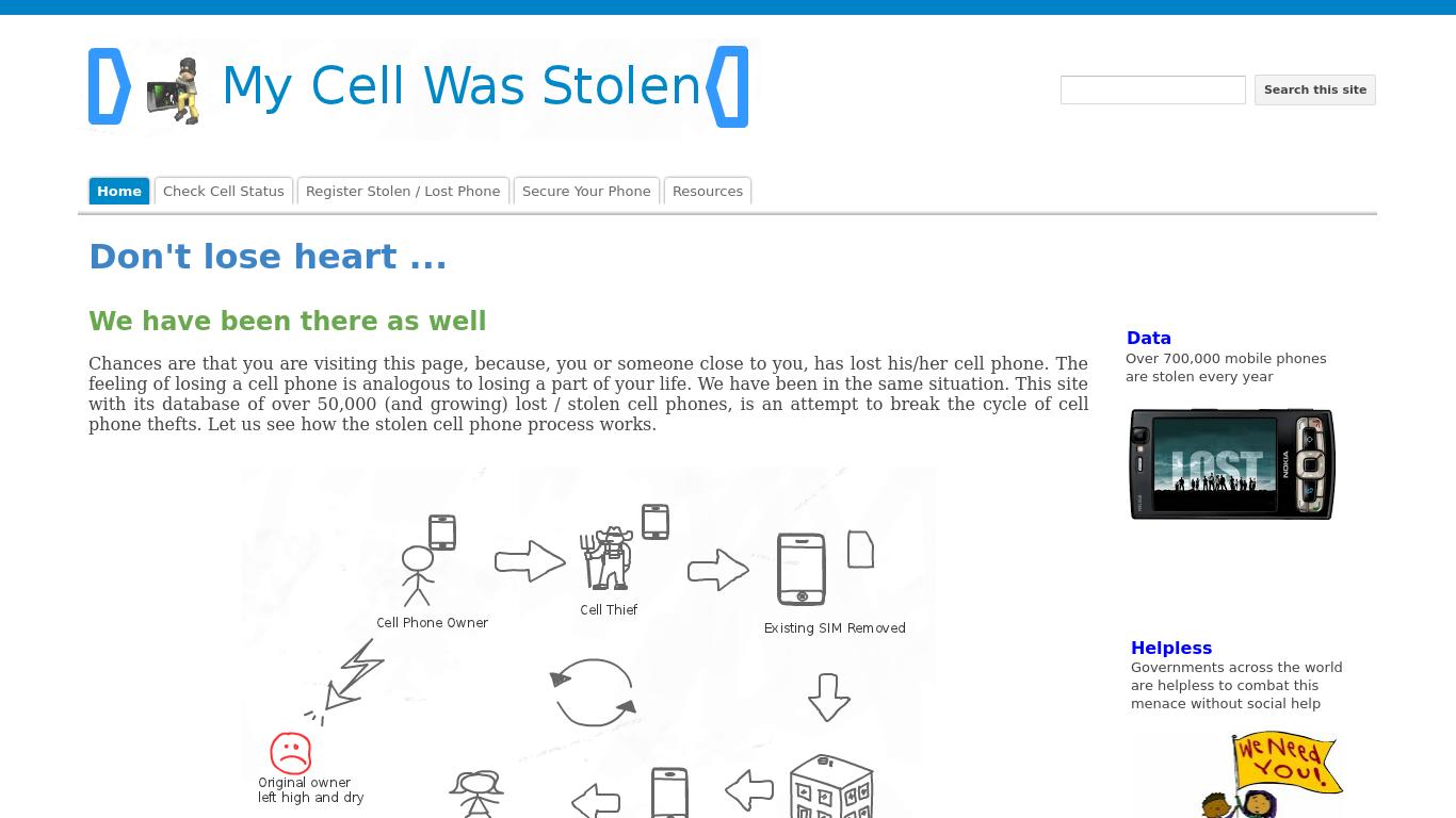 mycellwasstolen.com Screenshotx