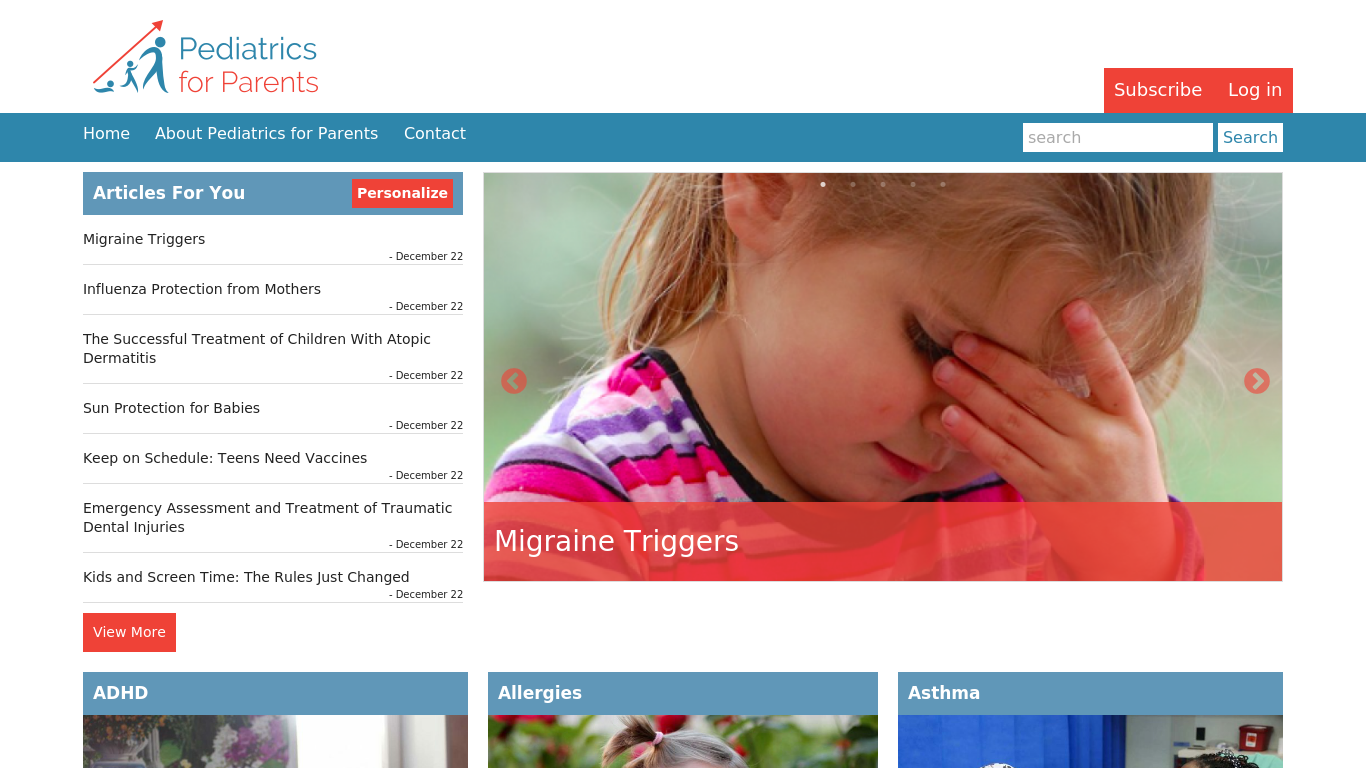 pedsforparents.com Screenshotx