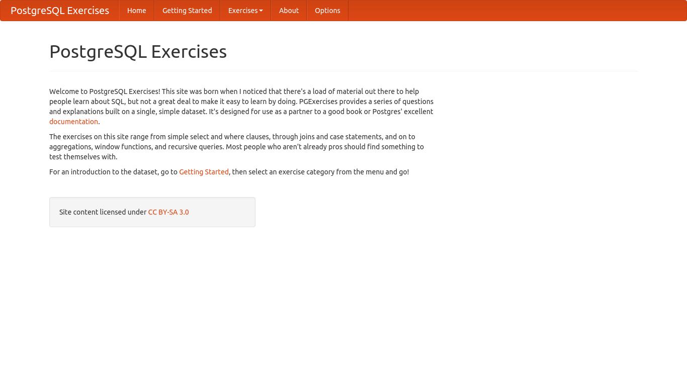 pgexercises.com Screenshotx