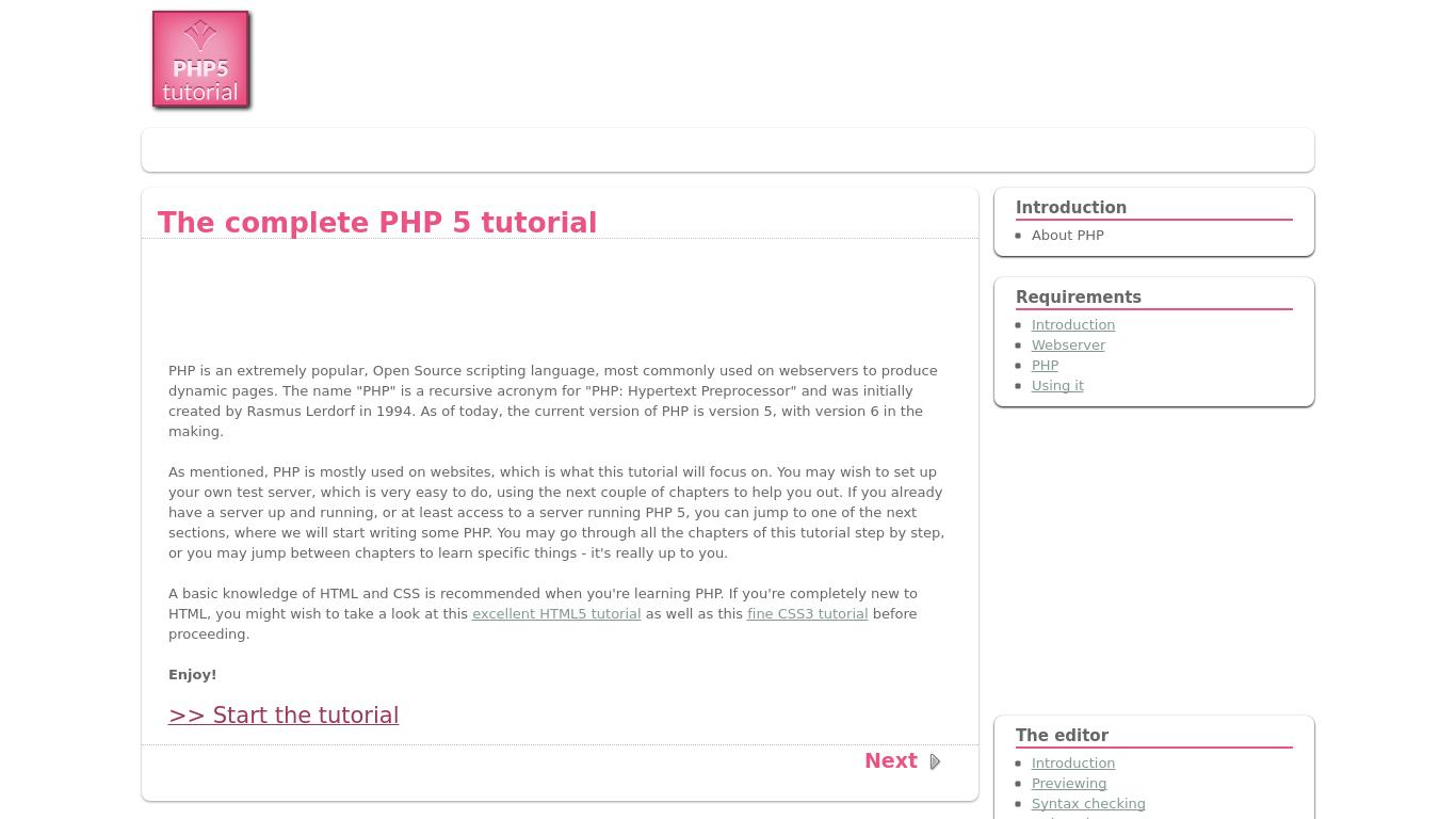 php5-tutorial.com Screenshotx