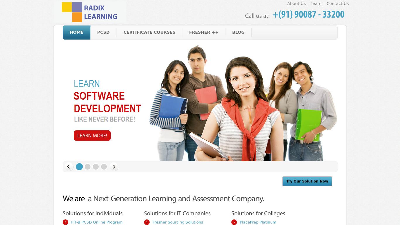 radixlearning.com Screenshotx