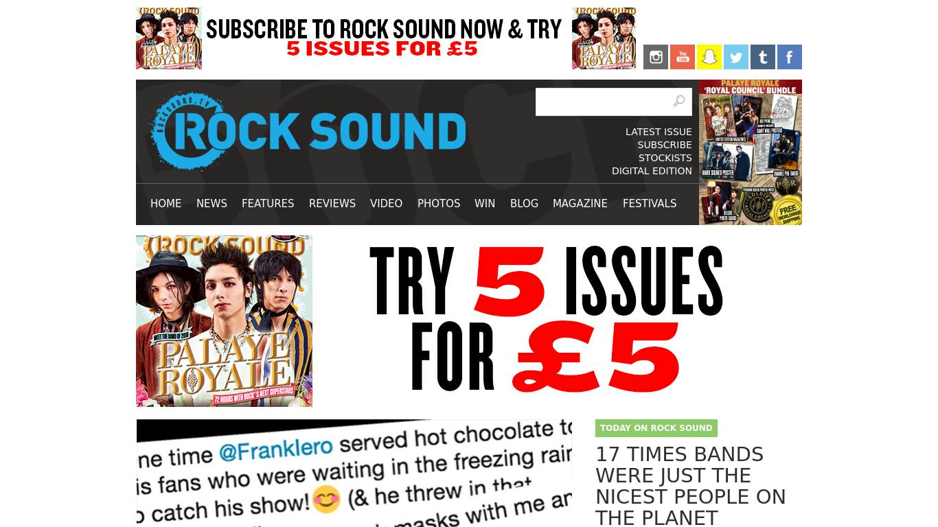 rocksound.tv Screenshotx