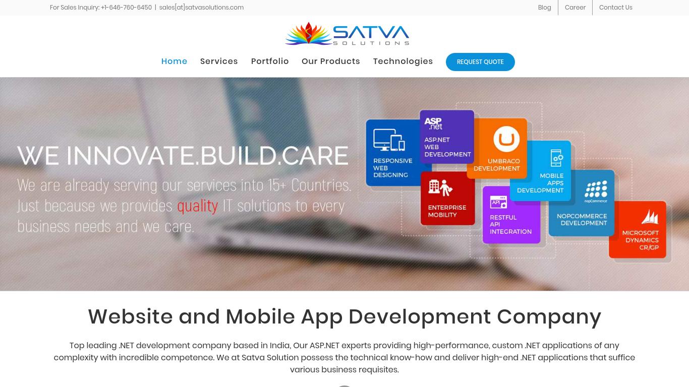 satvasolutions.com Screenshotx