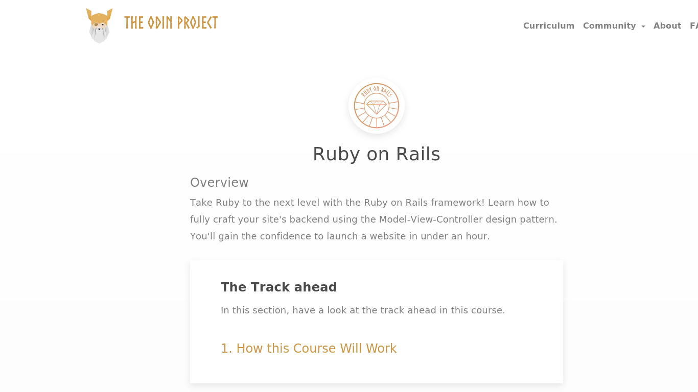Ruby on Rails by The Odin Project
