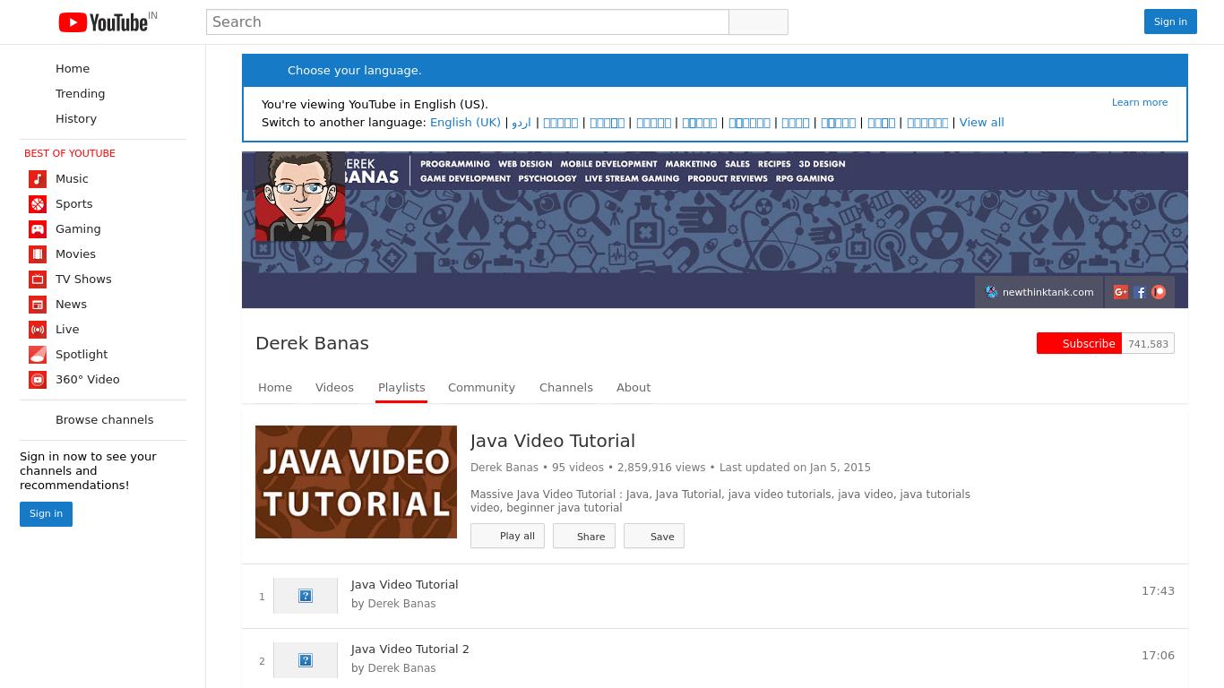 Derek banas java video tutorials screenshot screenshot derek banas java video tutorials baditri Choice Image